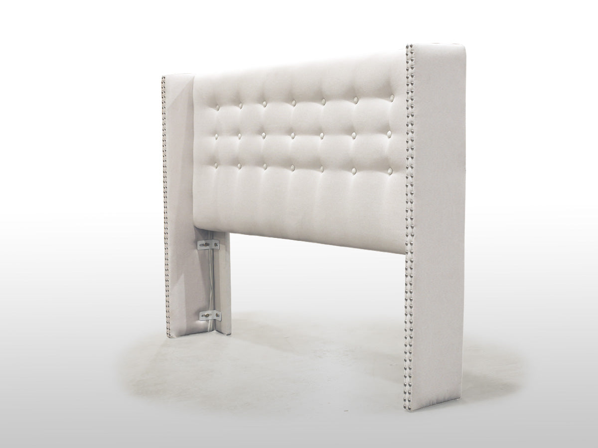 Mayfair Upholstered Fabric Wing Bed Head (Off White)
