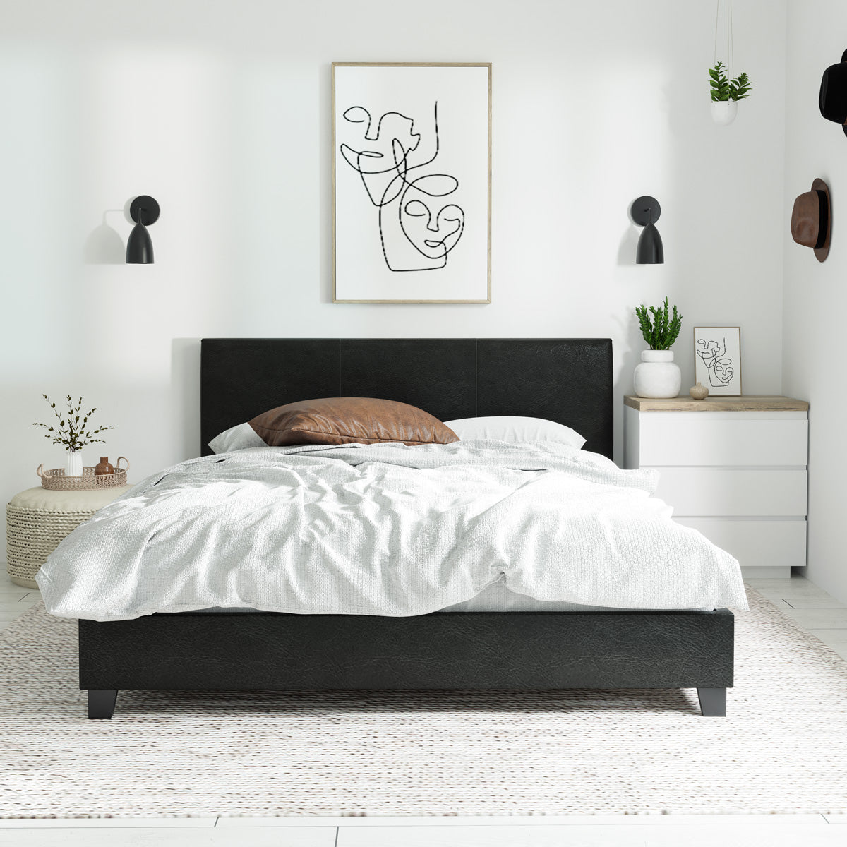 Arthur PU Leather Bed Frame (Black)
