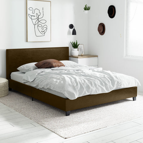 Arthur PU Leather Bed Frame (Brown)