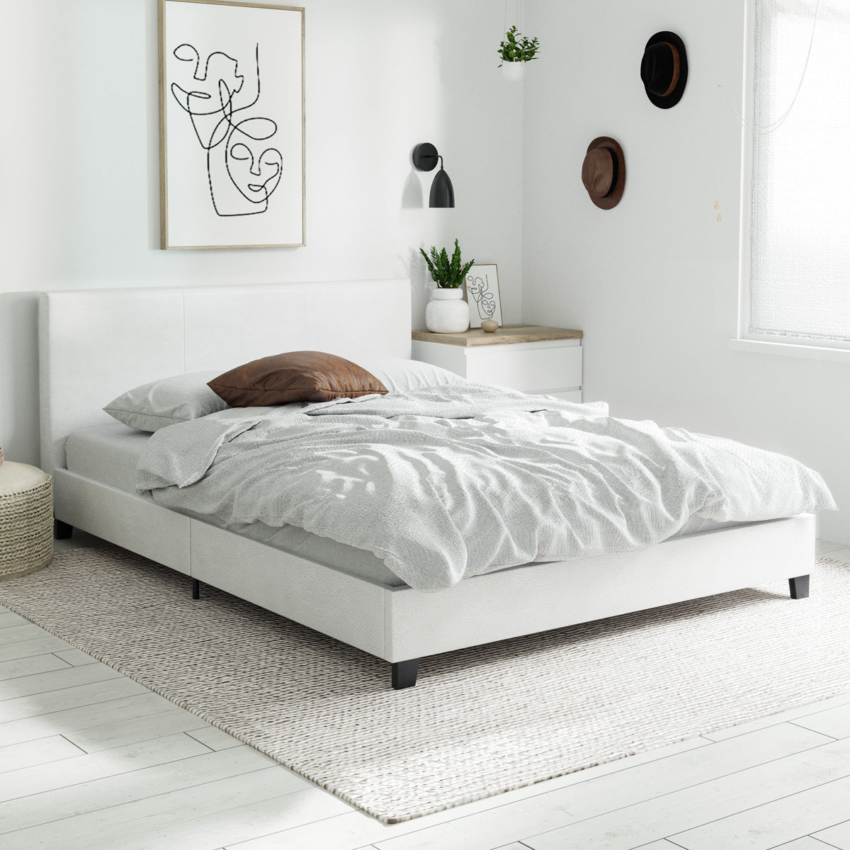 Arthur PU Leather Bed Frame (White)