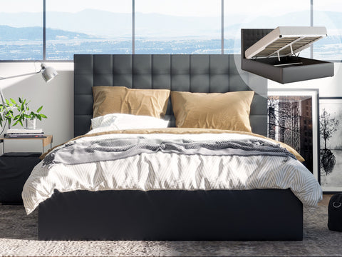 Astrid Gas Lift Storage Bed Frame (Black PU Leather)