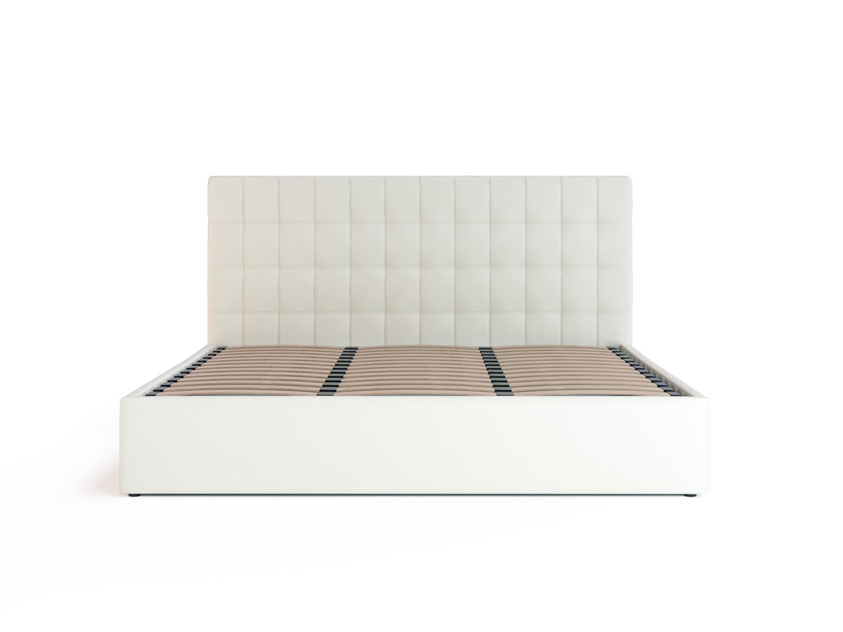 Astrid Gas Lift Storage Bed Frame (White PU Leather)