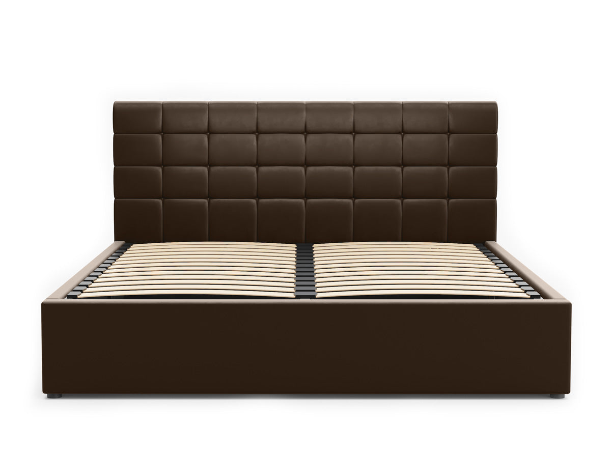 Pierre Gas Lift Storage Bed Frame (Brown PU Leather)
