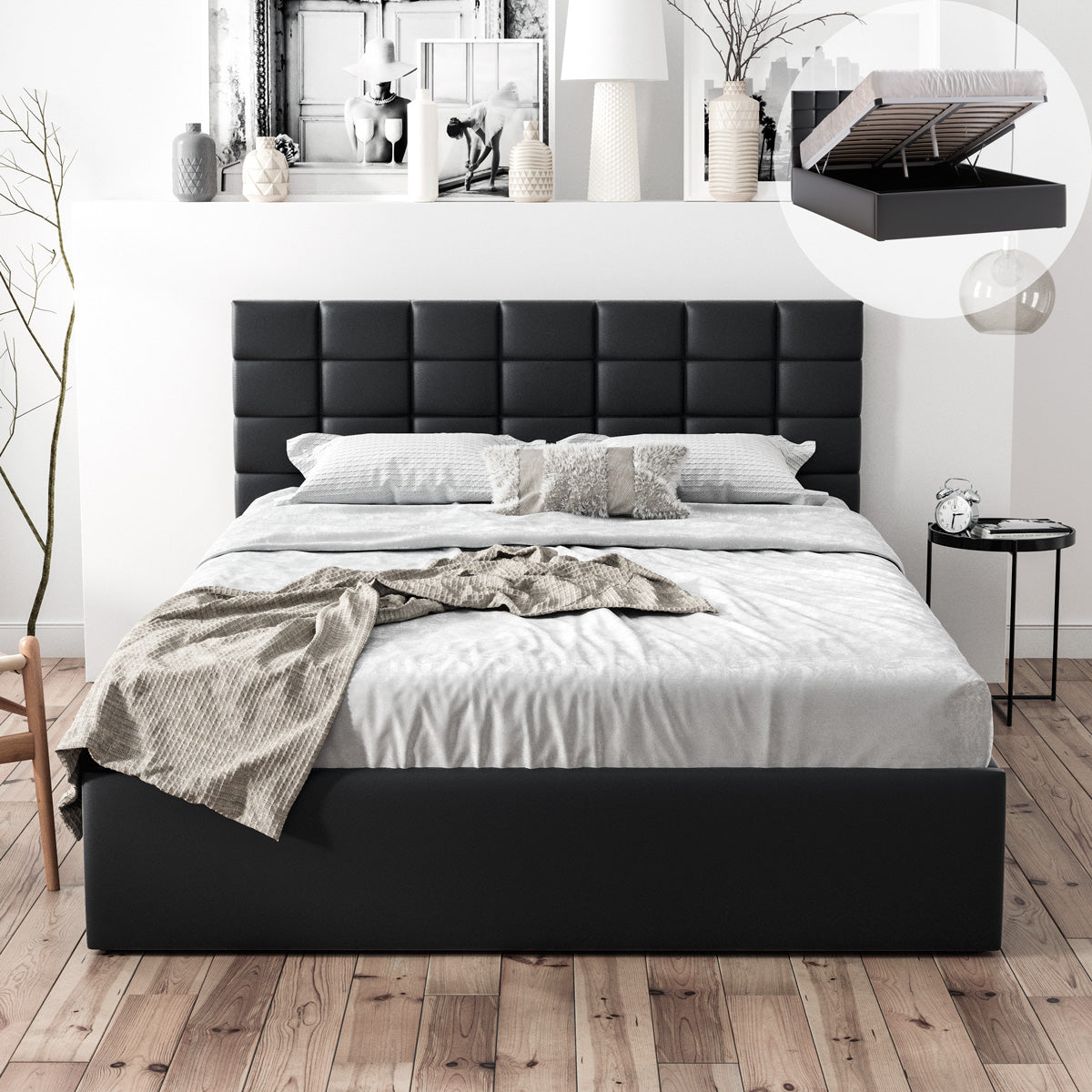 Pierre Gas Lift Storage Bed Frame (Black PU Leather)