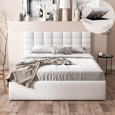 Pierre Gas Lift Storage Bed Frame (White PU Leather)