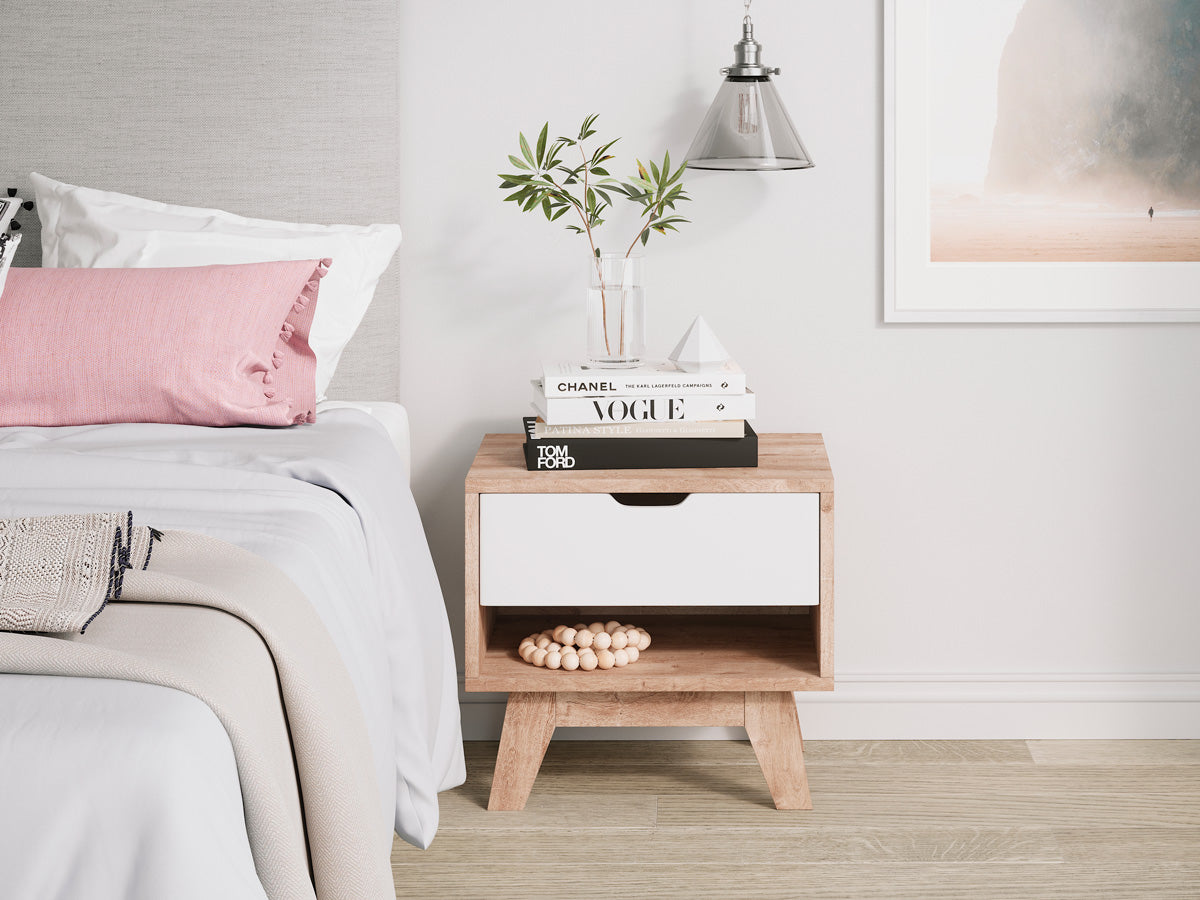 Wooden Bedside Table with White Drawer (Heston Collection)