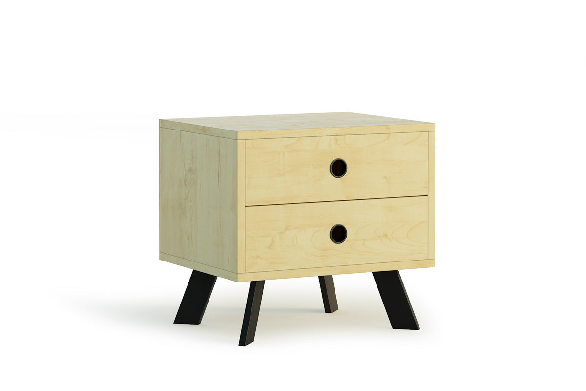 Wooden Bedside Table with Black Legs (Bloomingdale Collection)