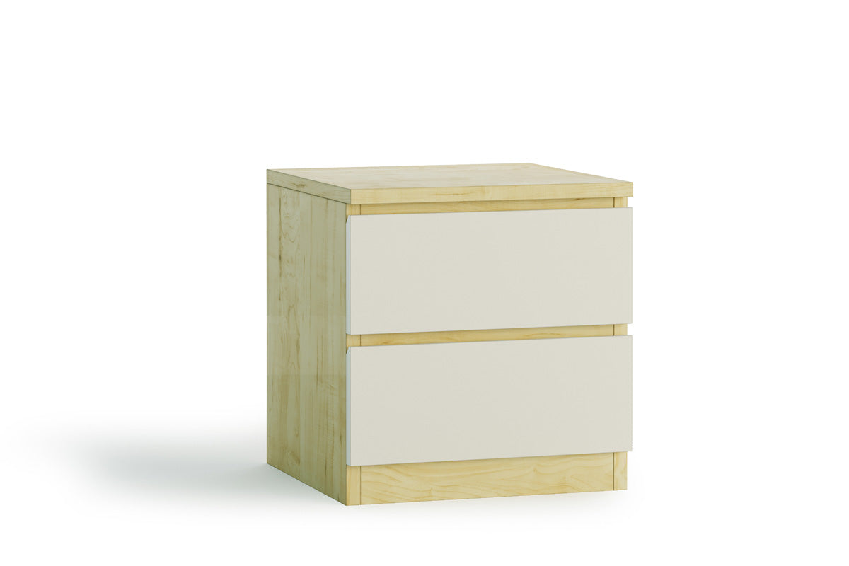 Wooden Bedside Table with White Drawer (Norbert Collection)