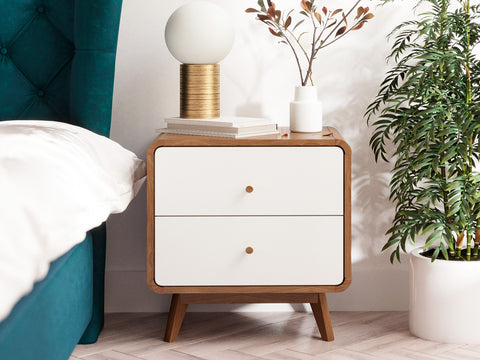 Wooden Bedside Table in Walnut Colour (Freya Collection)