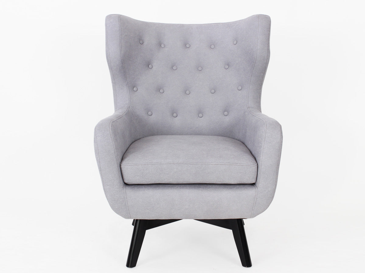 Ruben Fabric Button Armchair (Moon Dust Grey)