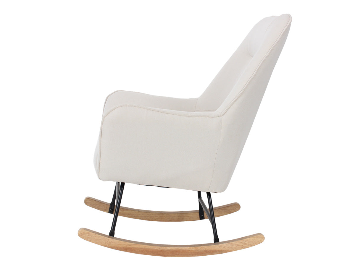 Mia Fabric Rocking Chair (Swan White)
