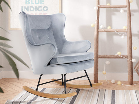 Noah Velvet Rocking Chair (Graphite Blue)