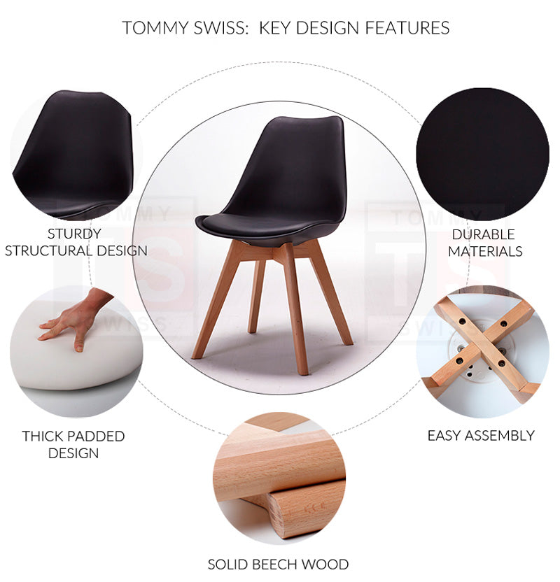 Set of 6 x Eames Inspired Eiffel DSW Padded Dining Chair (Black)