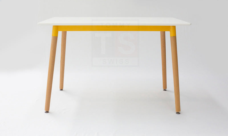 Frederic Rectangular Dining Table (Yellow Frame / White Table Top)