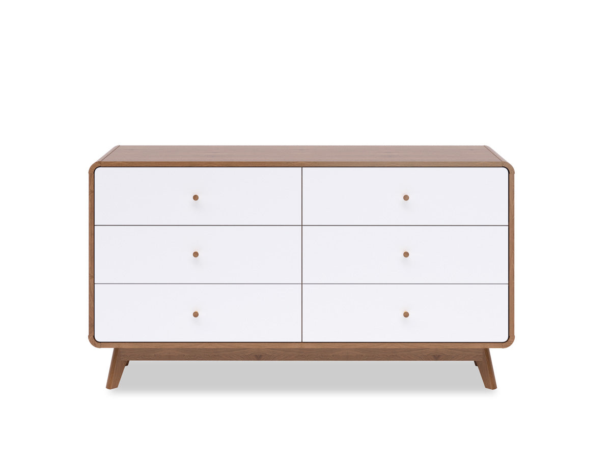 Six Drawer Wide Lowboy in Walnut Colour (Freya Collection)