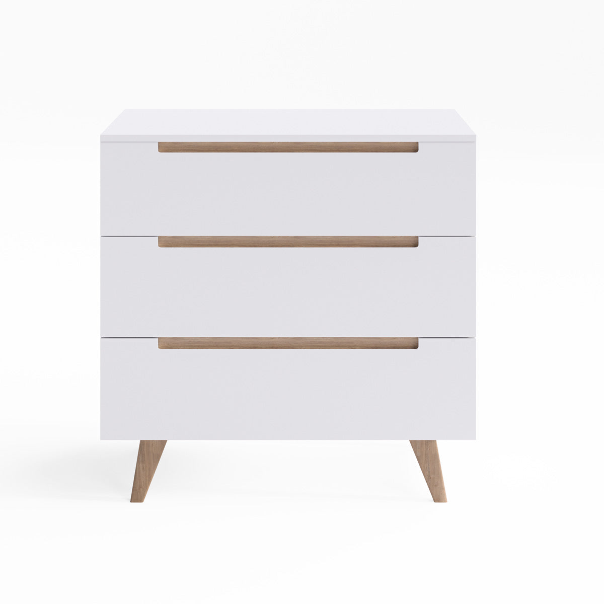 White Three Drawer Chest Unit with Solid Oak Legs (Olsen Collection)