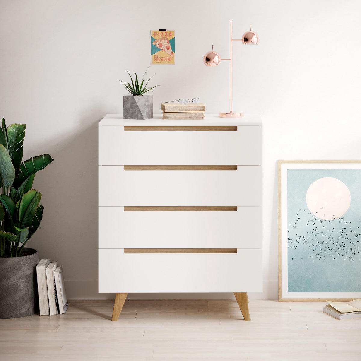 White Four Drawer Tallboy Unit with Solid Oak Legs (Olsen Collection)