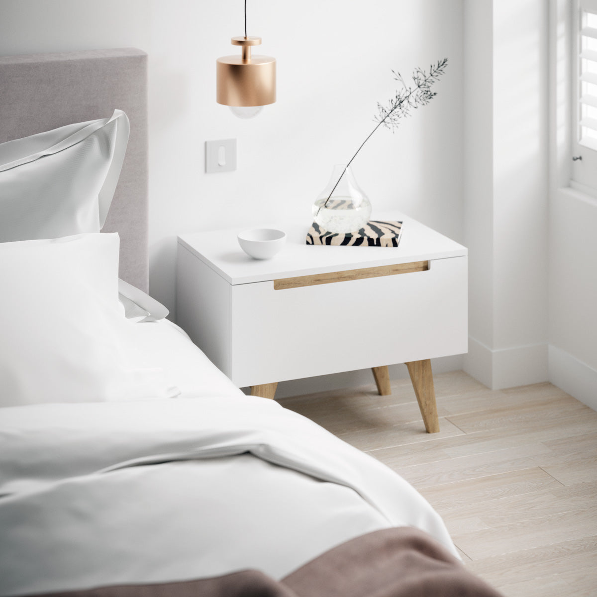 White Wooden Bedside Table with Solid Oak Legs (Olsen Collection)