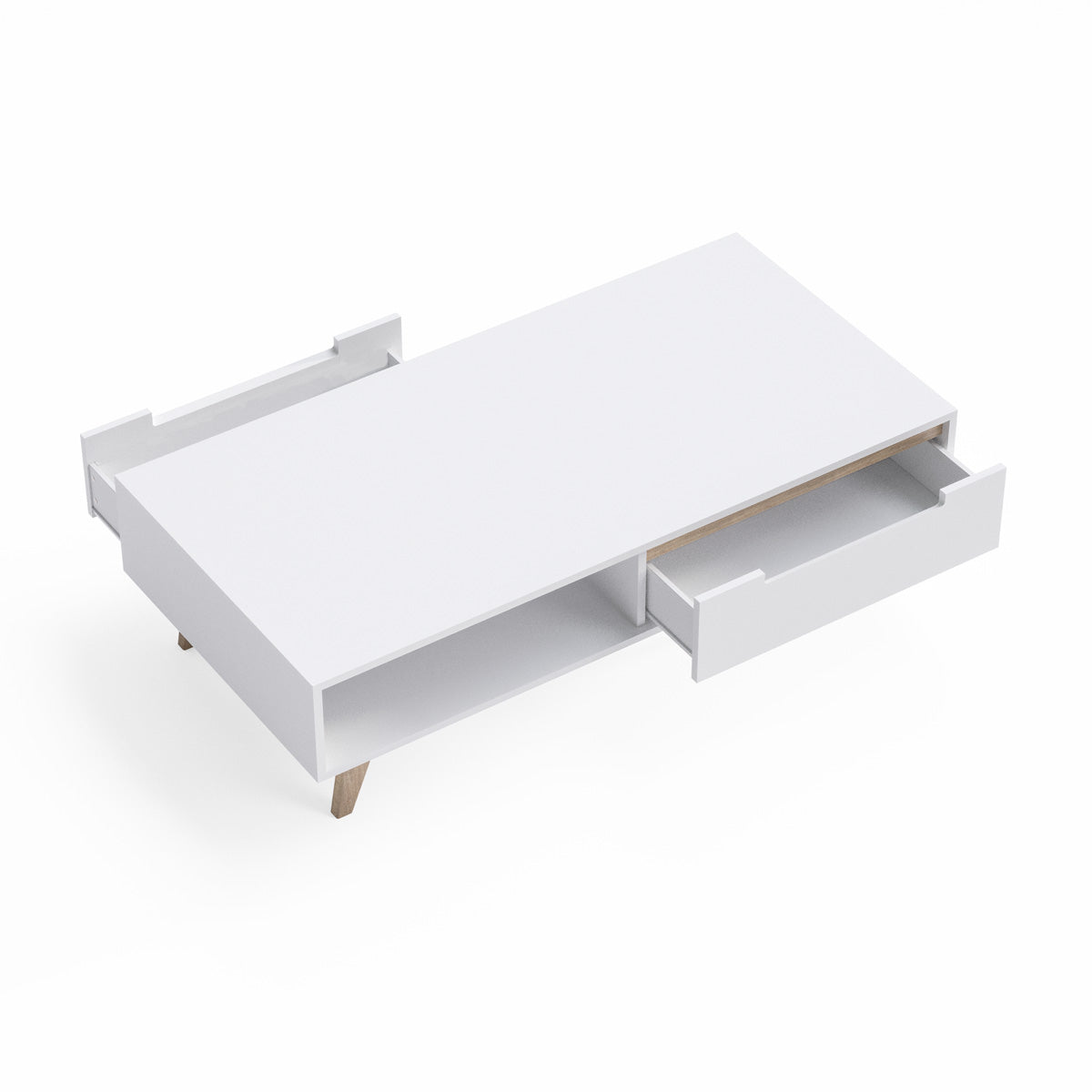 White Coffee Table with Solid Oak Legs (Olsen Collection)