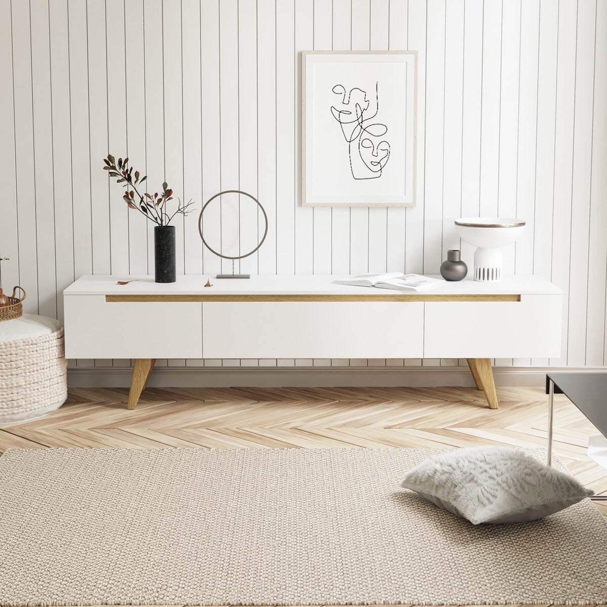 White TV Cabinet Entertainment Unit With Solid Oak Legs (180cm Olsen)