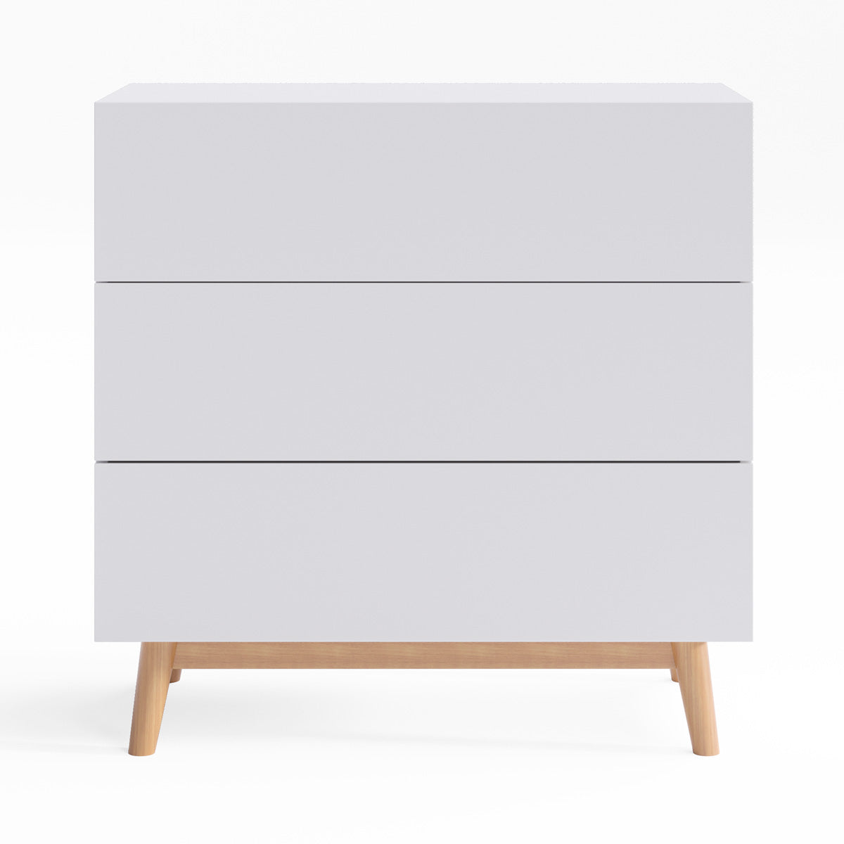 White Three Drawer Wooden Bedroom Chest of Drawers (Aspen)
