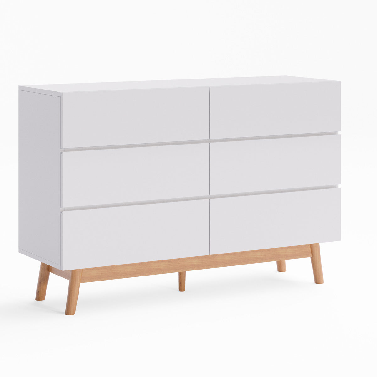 White Six Drawer Wooden Dresser Lowboy Chest (Aspen)