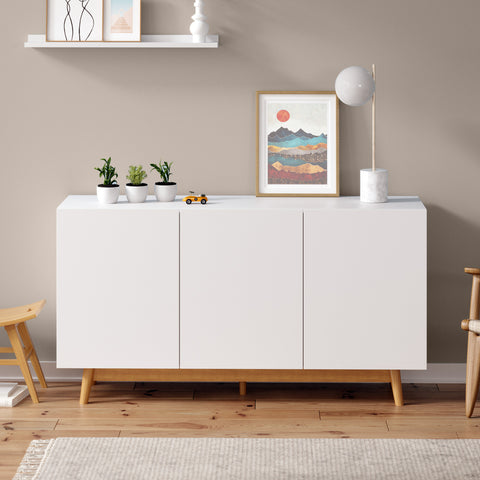 White Sideboard Buffet Unit with Solid Wood Legs (Aspen)