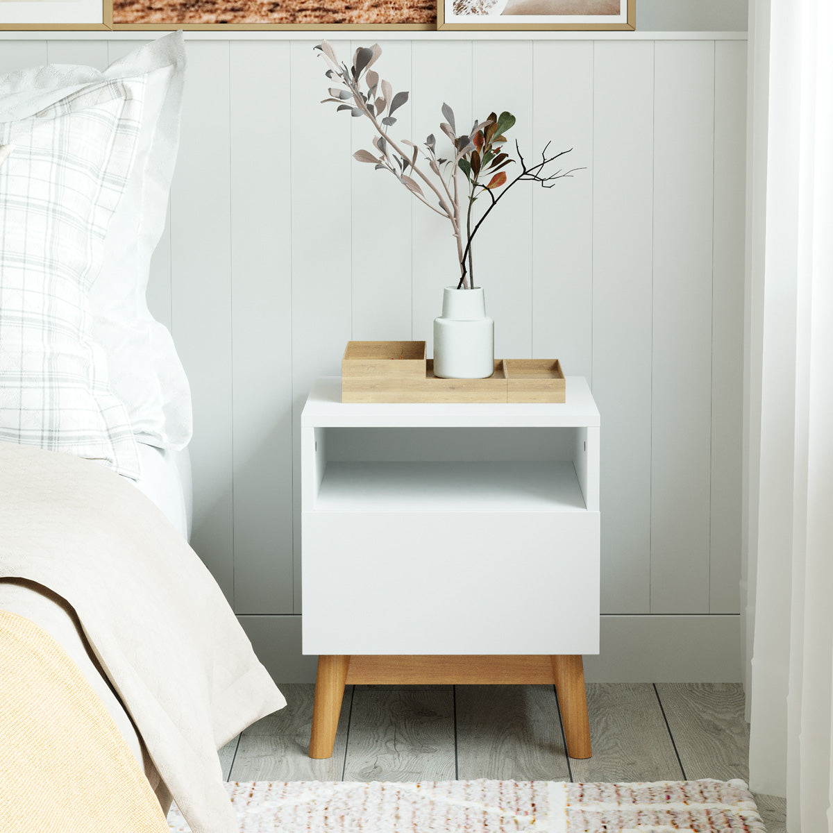White Wooden Bedside Table with Solid Wood Legs (Aspen)