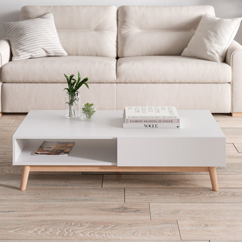 White Coffee Table with Solid Wood Legs (Aspen Collection)