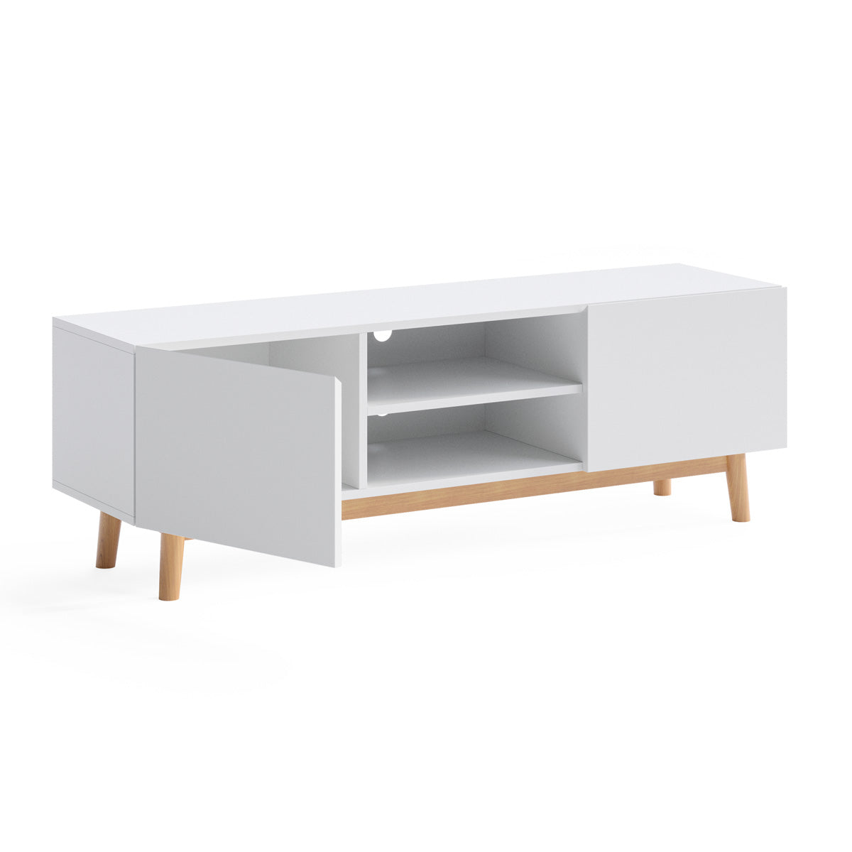 White TV Cabinet Entertainment Unit (140cm Aspen Collection)