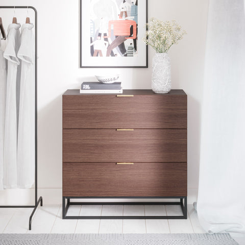 Walnut Three Drawer Wooden Chest of Drawers With Metal Base (Darcy Collection)