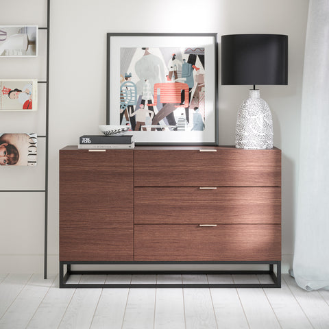 Walnut Sideboard Buffet Unit With Metal Base (Darcy Collection)