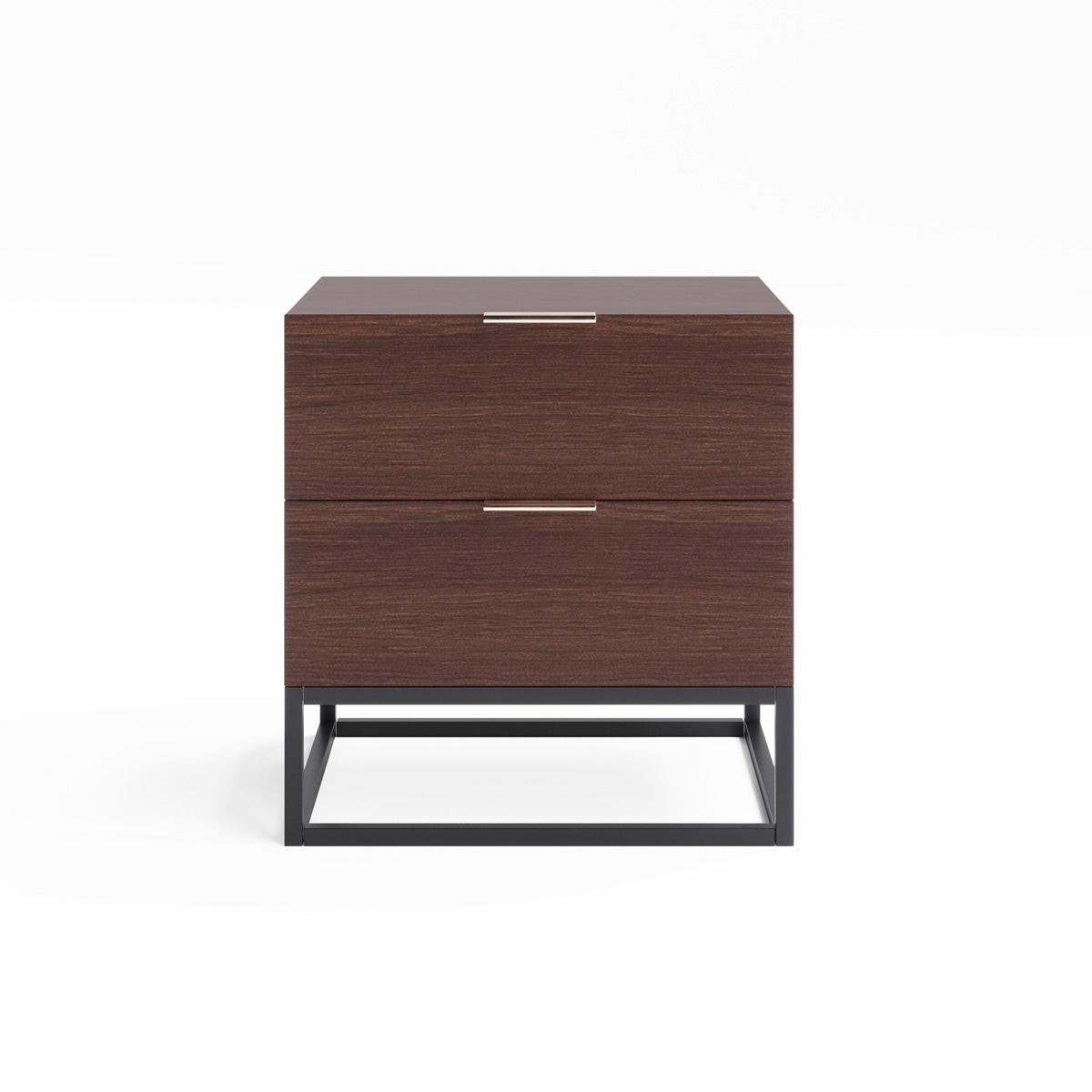 Walnut Bedside Table with Metal Base (Darcy Collection)
