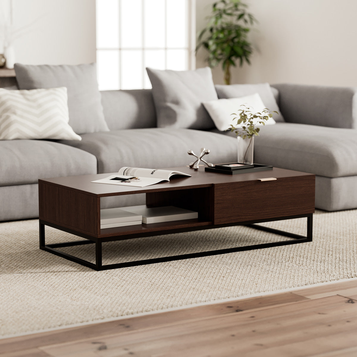 Walnut Coffee Table with Metal Base (Darcy Collection)
