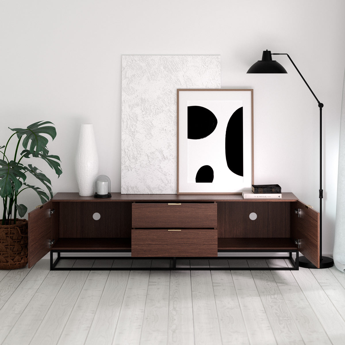 Walnut TV Cabinet Entertainment Unit With Metal Base (180cm Darcy Collection)