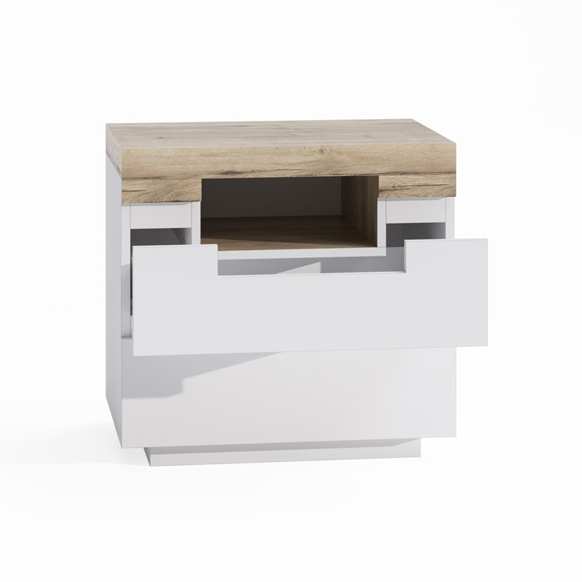Wooden Bedside Table With White Drawers (Coogee Collection)