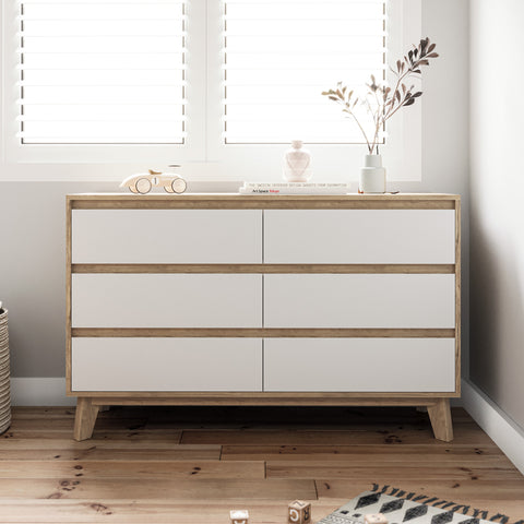 Six Drawer Wooden Dresser Lowboy Chest Unit (Kinfolk)