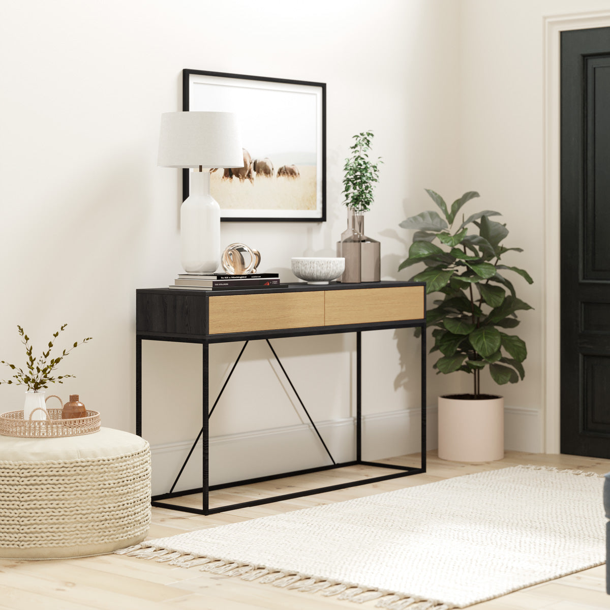 Black Hallway Console Table (Harvey Collection)