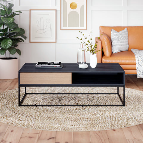 Black Coffee Table with Metal Base (Harvey Collection)