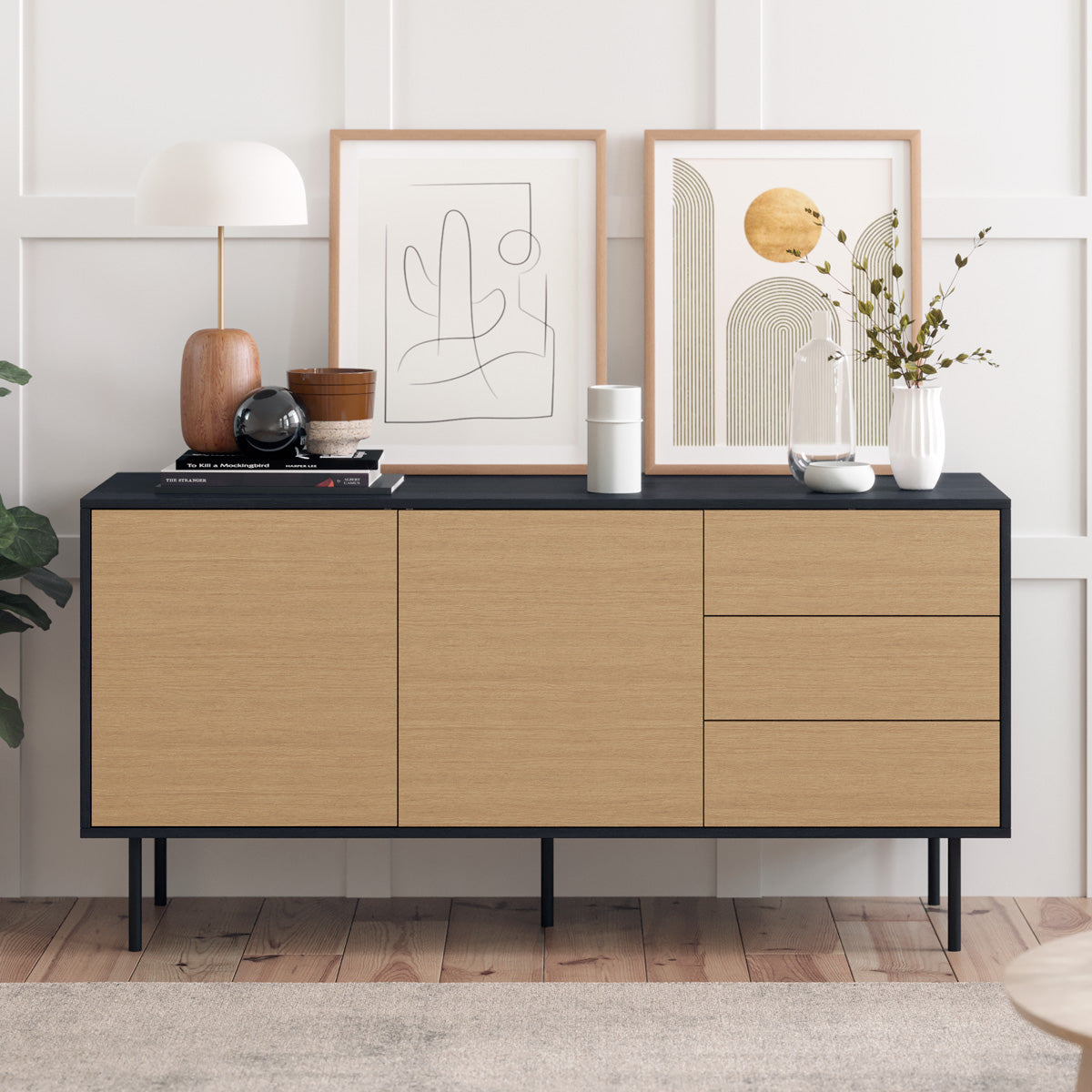 Black Sideboard Buffet Unit with Metal Legs (Harvey Collection)