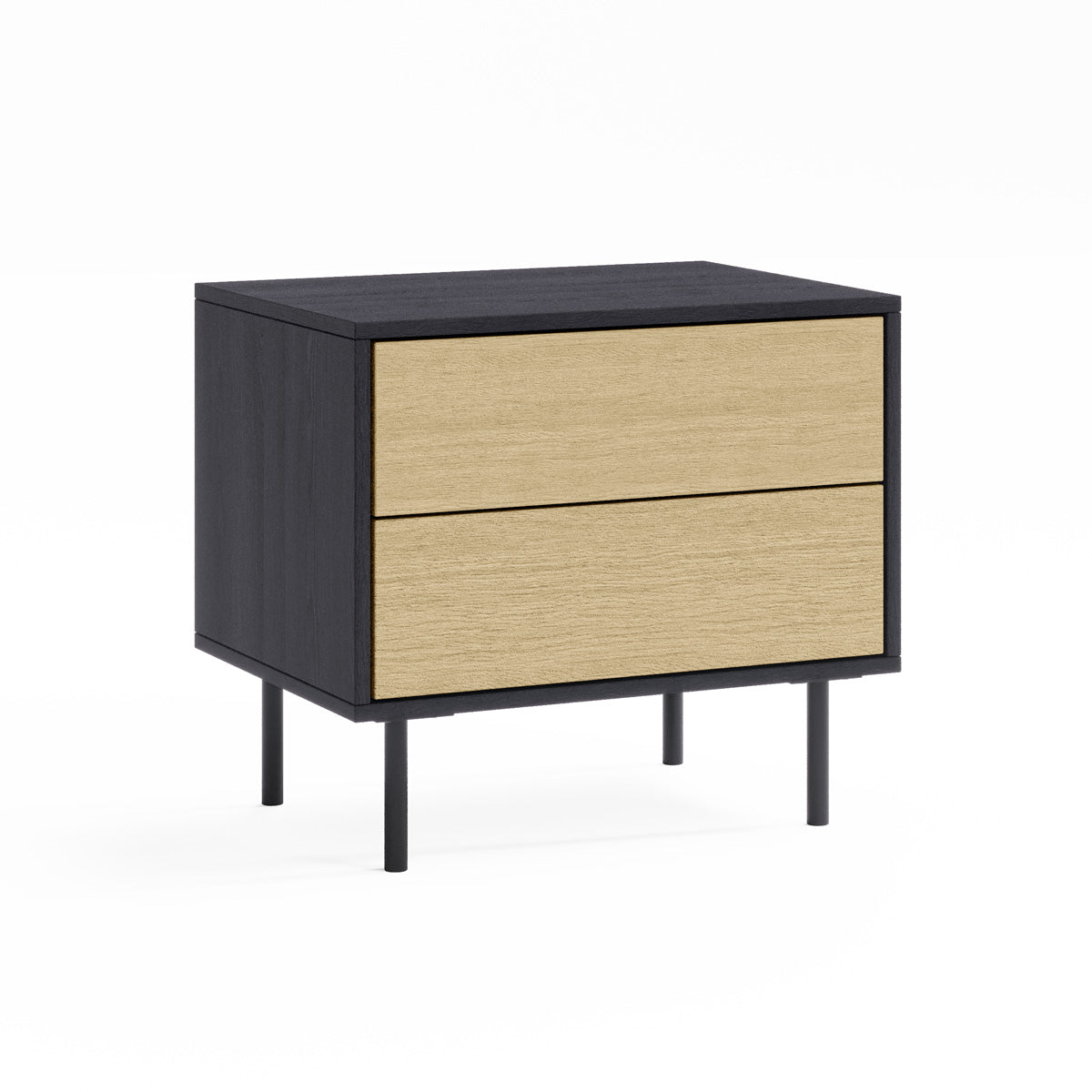 Black Wooden Bedside Table with Drawers (Harvey Collection)