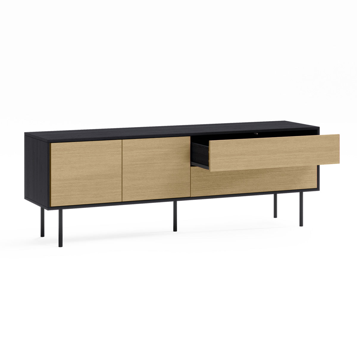 Black TV Cabinet Entertainment Unit (Harvey Collection)