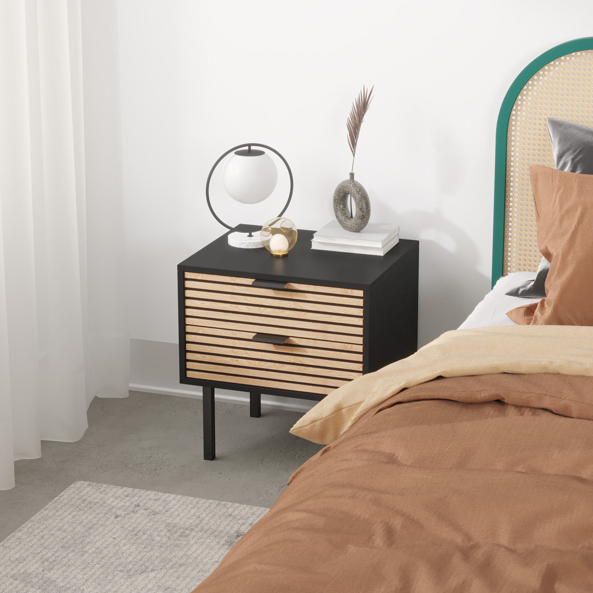 Black Wooden Bedside Table with Slatted Drawers (Zen Collection)