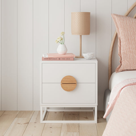 White Wooden Bedside Table (Zodiac Collection)