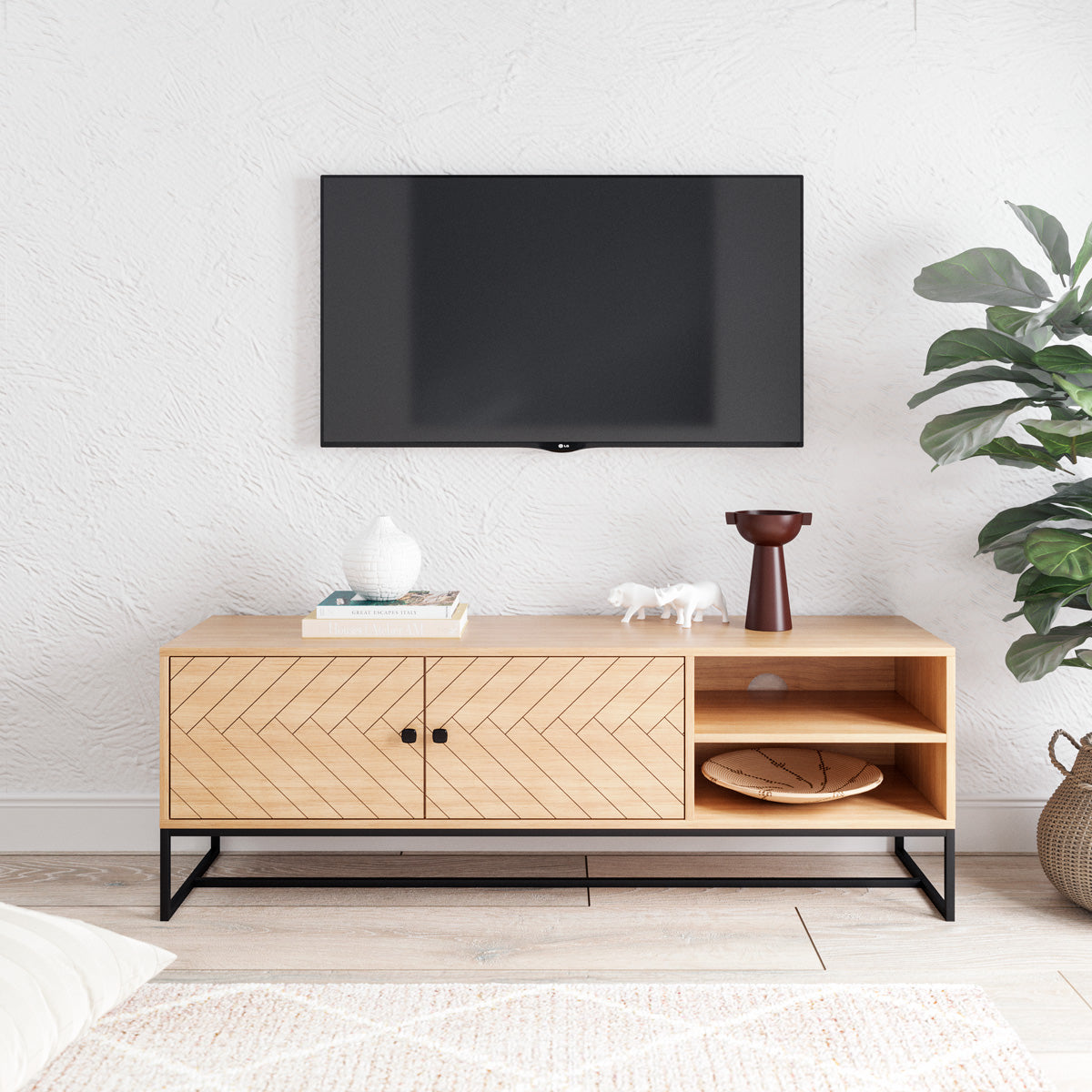 Wooden TV Cabinet Entertainment Unit (140cm Carve Collection)