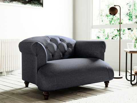 Hemingway Single Seater Fabric Armchair (Charcoal)