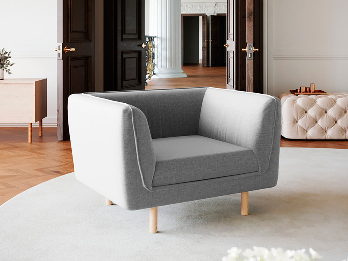 Hudson Single Seater Fabric Armchair (Grey)