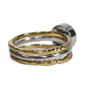 8mm Circle Cremation Ring in Sterling Silver and Two Companion Stacking Rings in 14K Yellow Gold