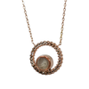 12mm Open Diamond Halo Cremation Necklace in 14K Rose Gold