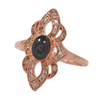 WWII Cremation Ring in 14K Rose Gold with Champagne Diamonds
